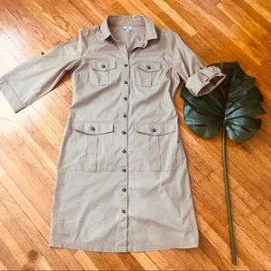 Worthington Khaki Shirt Dress With Pockets
